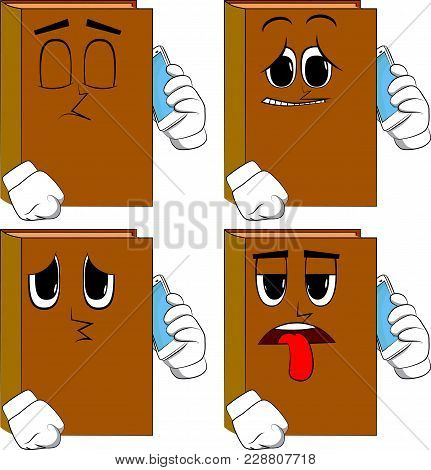 Books Talking On Cell Phone. Cartoon Book Collection With Sad Faces. Expressions Vector Set.