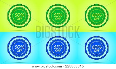 Collection Of Green And Blue Sale Badges. Vector Badge With Offer Of Discount 50 55 60 Percent Off,