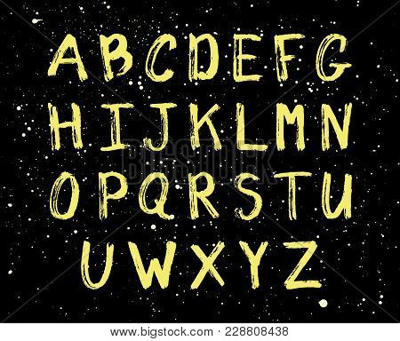 Vector Grunge Alphabet Isolated On Black Background