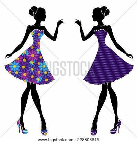 Slim Stylish Young Models In Short Dresses Mainly With Blue And Violet Colors, Vector Stencils Isola