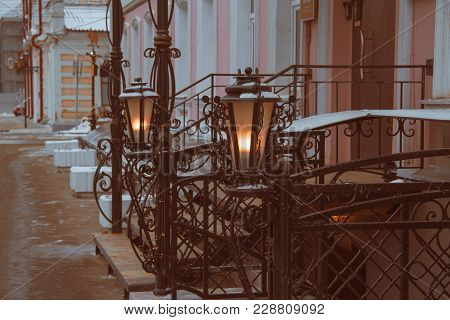 Wrought Iron Railings The Iron Threshold Of The Street Lights Of The City