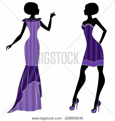 Graceful Young Ladies In Long And Short Dresses With Stylish Violet Hues, Vector Stencils Isolated O