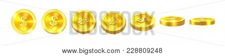 Gold Coins Set Isolated On White In Different Positions.vector Illustration Eps 10