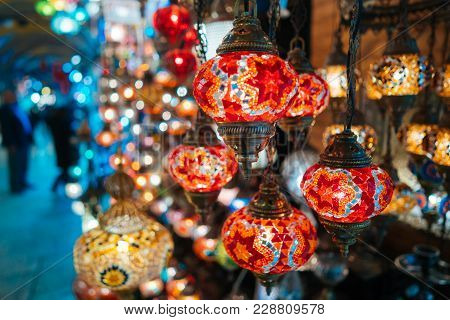 Beautiful Turkish Mosaic Lamps On Istanbul Bazaar.
