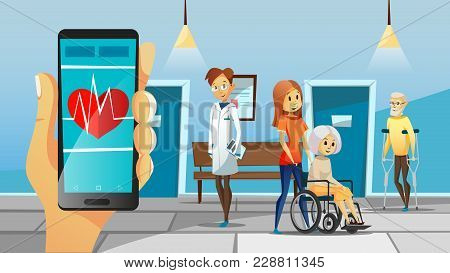 Hospital And Old Patients Vector Illustration Of Old Woman In Wheelchair With Nurse And Senior Man O