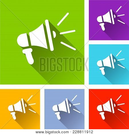 Illustration Of Loudspeaker Icons With Long Shadow