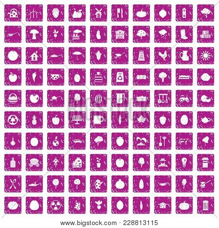 100 Health Food Icons Set In Grunge Style Pink Color Isolated On White Background Vector Illustratio