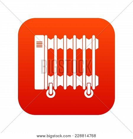 Oil Electric Heater On Wheels Icon Digital Red For Any Design Isolated On White Vector Illustration