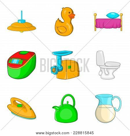 Wash Wall Icons Set. Cartoon Set Of 9 Wash Wall Vector Icons For Web Isolated On White Background