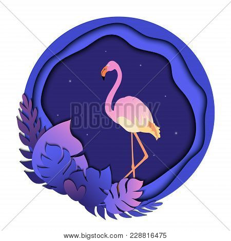 Pink Flamingo In Tropical Leaves. Summer Trendy Tropical Template With Twinkling Fireflies And Exoti