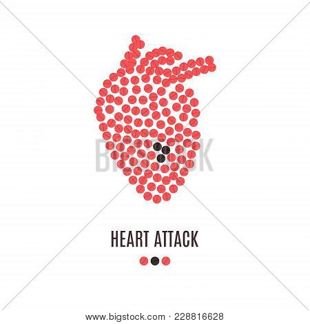 Heart Attack Awareness Poster With Heart Made Of Red Pills On White Background. Medical Solidarity C