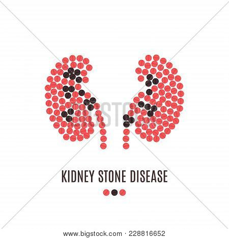Kidney Stone Disease Awareness Poster With Kidneys Made Of Red And Black Pills On White Background.