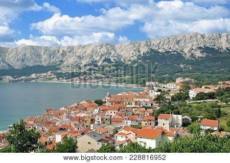 View To Village Of Baska On Krk At Adriatic Sea,croatia
