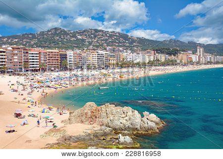 Popular Beach And Village Of Lloret De Mar At Costa Brava,catalonia,mediterranean Sea,spain