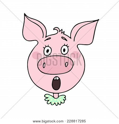 The Cute Pig Has An Surprised Expression. Vector Illustration Of Cartoon Style