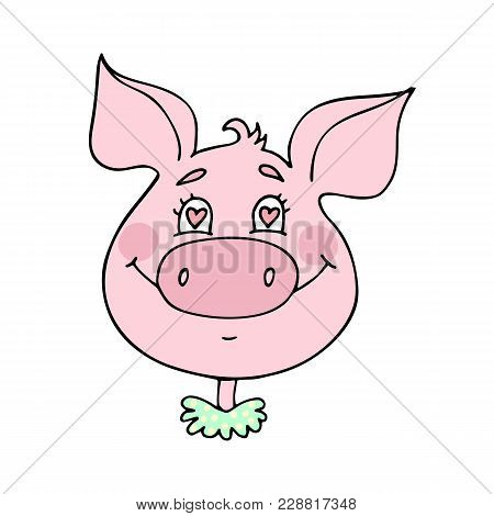 Cute Pig In Love. Emotion Of Happiness, Facial Expression. Vector Illustration Of Cartoon Style.