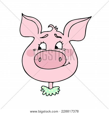 The Cute Pig Has An Expression Of Embarrassment And Shame. Vector Illustration Of Cartoon Style