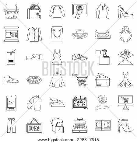Online Wholesale Trade Icons Set. Outline Set Of 36 Online Wholesale Trade Vector Icons For Web Isol