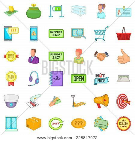 Daily Trade Icons Set. Cartoon Set Of 36 Daily Trade Vector Icons For Web Isolated On White Backgrou