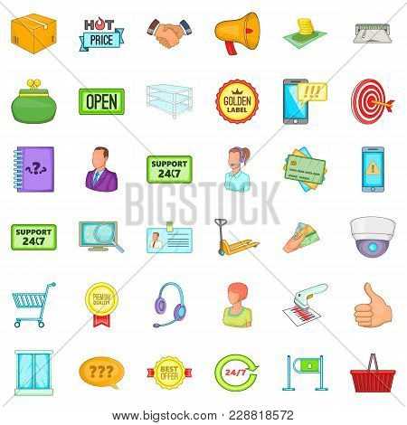 Large Stock Icons Set. Cartoon Set Of 36 Large Stock Vector Icons For Web Isolated On White Backgrou