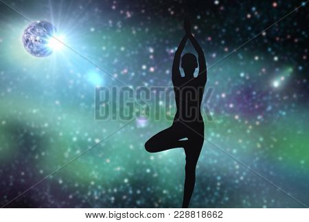 fitness, mindfulness and harmony concept - black silhouette of woman doing yoga tree pose over space background