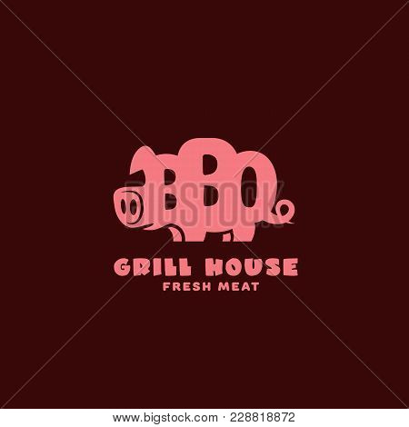 Grill House Logo Template Design With A Stylized Pig On A Dark Background. Vector Illustration.