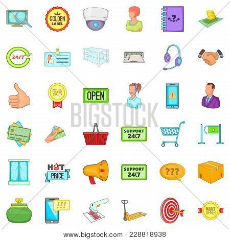 Big Warehouse Icons Set. Cartoon Set Of 36 Big Warehouse Vector Icons For Web Isolated On White Back