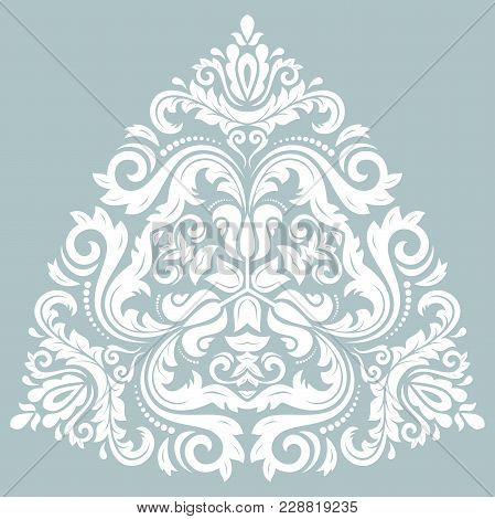 Oriental Vector White Triangular Pattern With Arabesques And Floral Elements. Traditional Classic Or