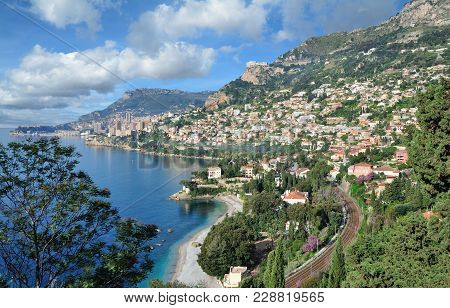 Coastline Of Monaco At French Riviera Or Cote D`azur,south Of France