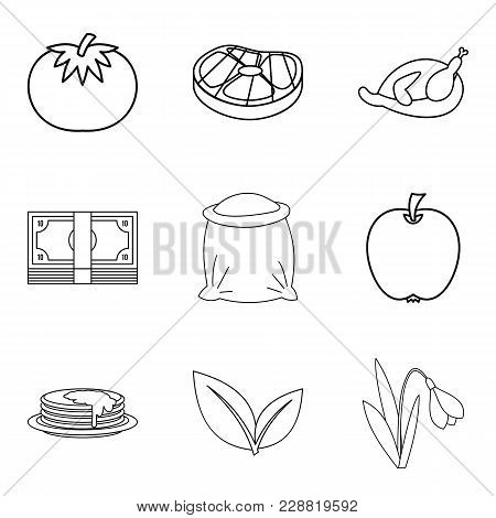 Paternal House Icons Set. Outline Set Of 9 Paternal House Vector Icons For Web Isolated On White Bac