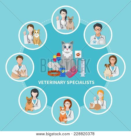 Veterinarian Medical Specialists Flat Circle Composition With Cat Dog Accessories Pets Care Products