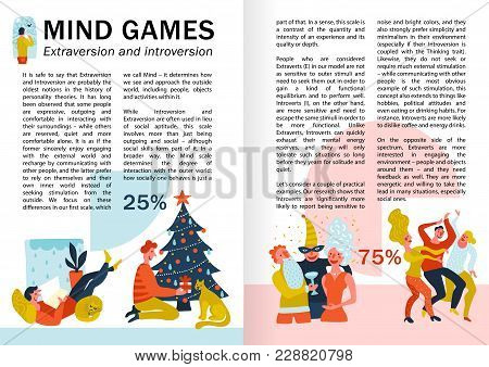Mind Games Extraversion And Introversion Infographics, Book Pages With Behavior Of Persons During Le