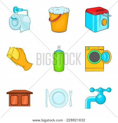 Foster Family Icons Set. Cartoon Set Of 9 Foster Family Vector Icons For Web Isolated On White Backg
