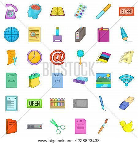 Firm Association Icons Set. Cartoon Set Of 36 Firm Association Vector Icons For Web Isolated On Whit