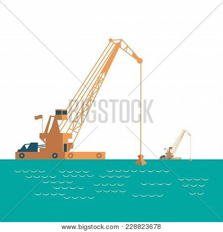 Huge Crane Barge Industrial Ship That Digs Sand Marine Dredging Digging Sea Bottom. Light Sea Green,