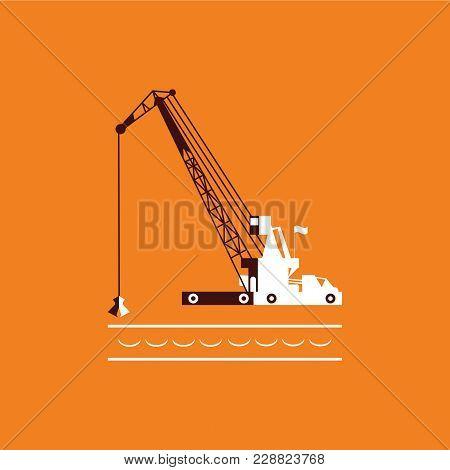 Huge Crane Barge Industrial Ship That Digs Sand Marine Dredging Digging Sea Bottom. Orange And Dark