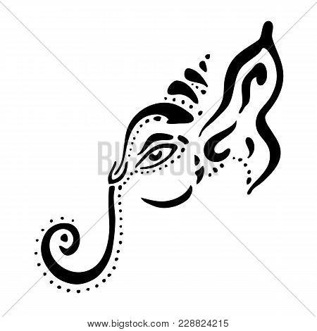 Hindu God Lord Ganesha. Ganapati. Vector Hand Drawn Illustration