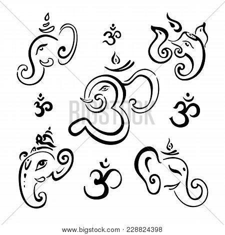Hindu God Ganesha. Ganapati. Vector Hand Drawn Illustration