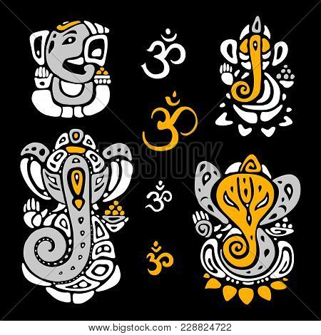 Hindu God Ganesha. Ganapati. Vector Hand Drawn Illustration