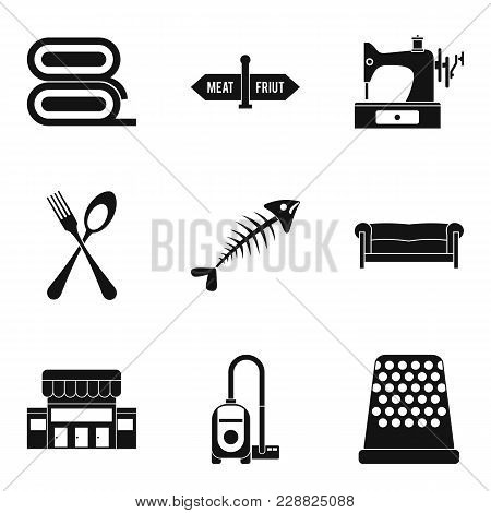 Domestic Staff Icons Set. Simple Set Of 9 Domestic Staff Vector Icons For Web Isolated On White Back