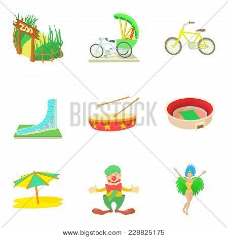 Travel Dream Icons Set. Cartoon Set Of 9 Travel Dream Vector Icons For Web Isolated On White Backgro