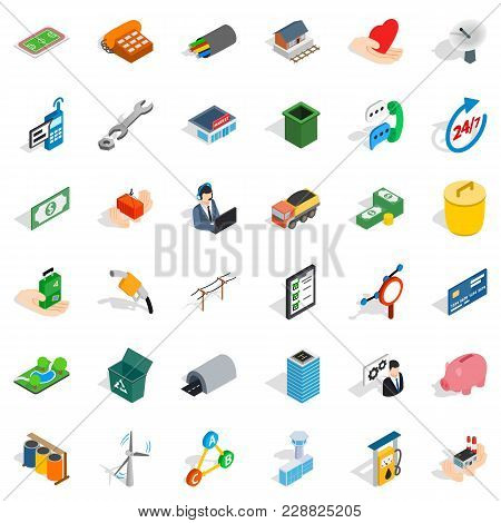 Collaborative Business Icons Set. Isometric Set Of 36 Collaborative Business Vector Icons For Web Is