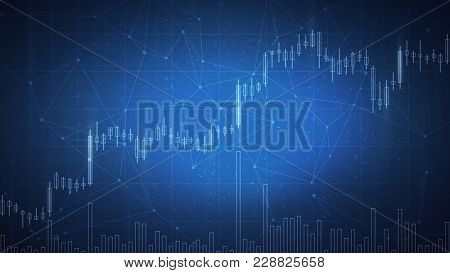 Blockchain technology network futuristic hud background with chain of blocks polygon peer to peer network and growing stock chart. Global cryptocurrency blockchain fintech business banner concept.