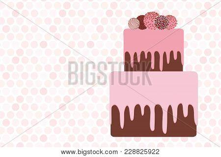 Greeting Card Template, Birthday, Valentine's Day, Wedding, Engagement. Sweet Cake, Strawberry Pink