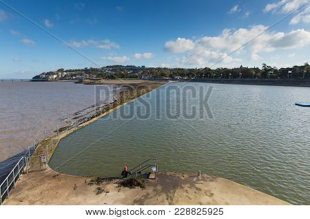 Clevedon Somerset England Uk Seafront And Open Air Swimming Pool At Coast Town Near Bristol And West