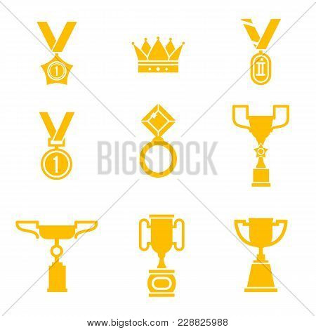 Trophy And Awards Icons Set. Championship Ceremony Labels, Winner Cup And Trophy Prizes Collection,