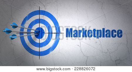 Success Marketing Concept: Arrows Hitting The Center Of Target, Blue Marketplace On Wall Background,