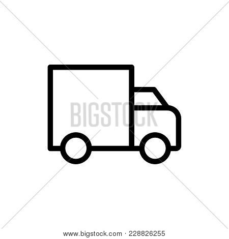 Truck Flat Icon. Single High Quality Outline Symbol Of Info For Web Design Or Mobile App. Thin Line