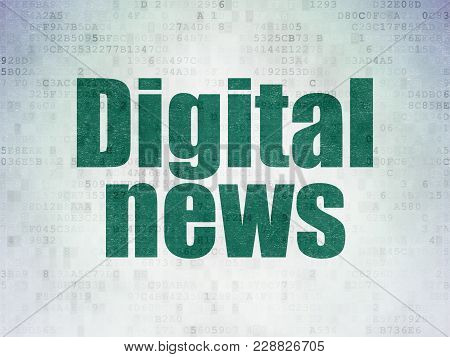 News Concept: Painted Green Word Digital News On Digital Data Paper Background