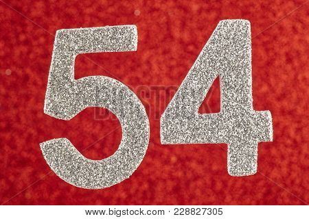 Number Fifty-four Blue Over A Silver Background. Anniversary. Horizontal